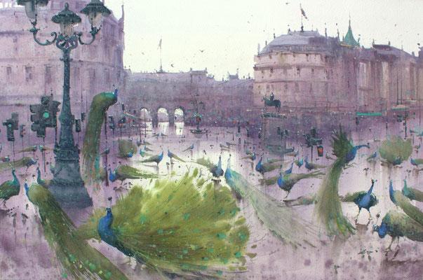Social distancing on Trafalgar Square, watercolor, 36x53cm