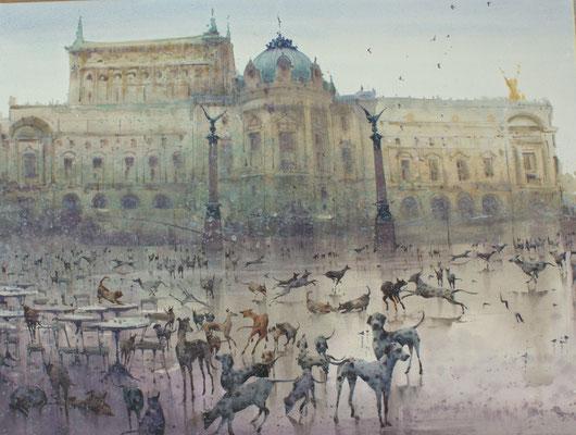 Dogs lake ballet, watercolor, 76x53cm