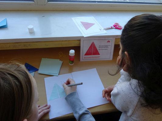 Anlegen eines Heftes zu den aufgeteilten Dreiecken