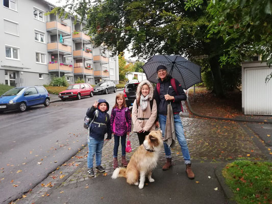 Auch im Regen, ach oh wei, waren es noch eins, zwei, drei.  Ein nasser Hund lief auch heut mit, mit schnellem Schritt, denn er ist fit.