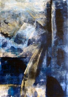 Blau, 50 x 70 cm, Acryl/Malkarton