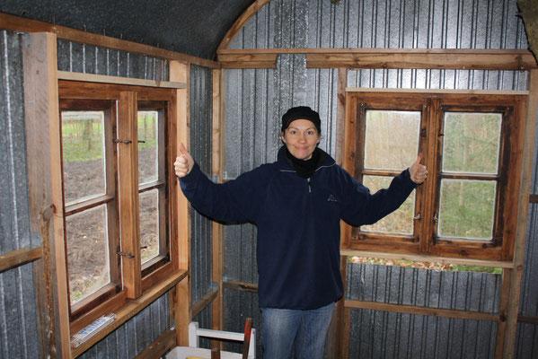 Alle Holzfenster eingebaut