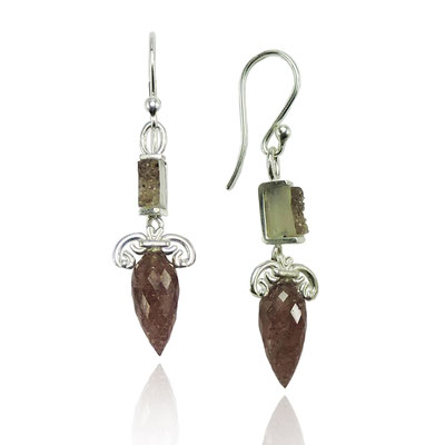 Ironwork Earrings. Sterling Silver, Druzy Quartz, Quartz Points.