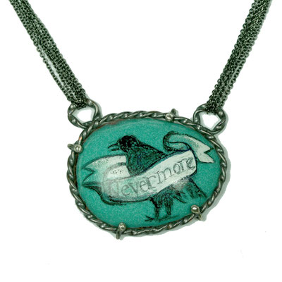 Nevermore Necklace. Copper, Hand Painted Enamel, Stainless Steel.