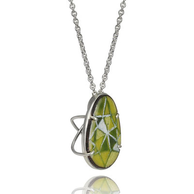 Bling Necklace (Green Pear). Sterling Silver, Copper, Hand Painted Enamel.