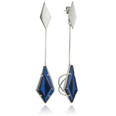 Bling Drop Earrings (blue). Sterling Silver, Copper, Hand Painted Enamel.