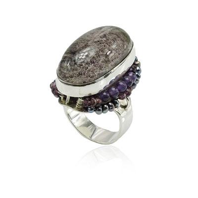 Undersea Garden. Sterling Silver, Lodolite (Garden Quartz), Amethysts, Garnets, Pearls.