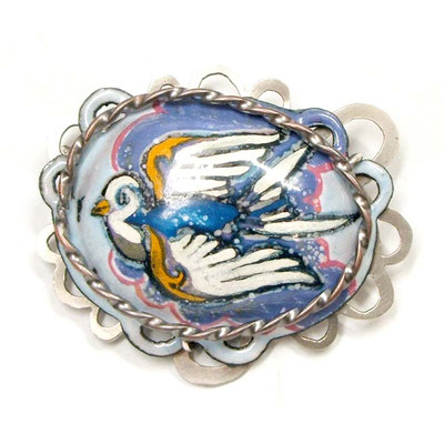 Dove Brooch/Pendant. Copper, Hand Painted Enamel, Nickel.