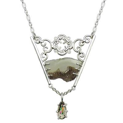 Ironwork Necklace. Sterling Silver, Druzy Quartz, Rainbow Lattice Sunstone.