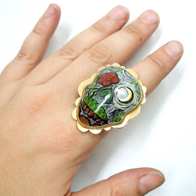 Nightime Day of the Dead Ring. Copper, Goldplating, Hand Painted Enamel.