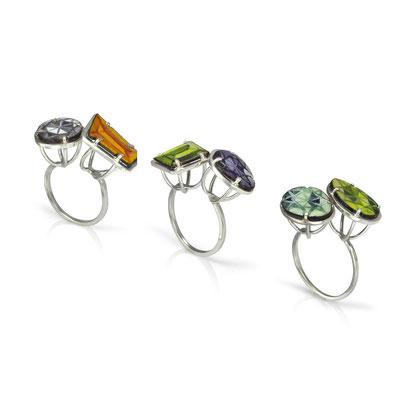 Bling Rings. Sterling Silver, Copper, Hand Painted Enamel.