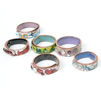 Enamel Rings. Copper, Haind Painted Enamel, Swarovski Crystals.