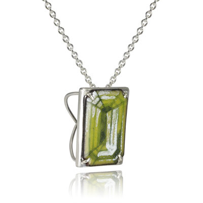 Bling Necklace (Green Emerald Cut). Sterling Silver, Copper, Hand Painted Enamel.