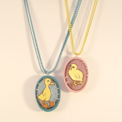 Chicks. Cloisonné Enamel, Copper, Sterling Silver, Flocking, Coloured Chain.