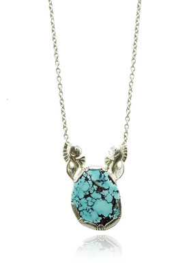 Fish Necklace. Sterling Silver, Turquoise.