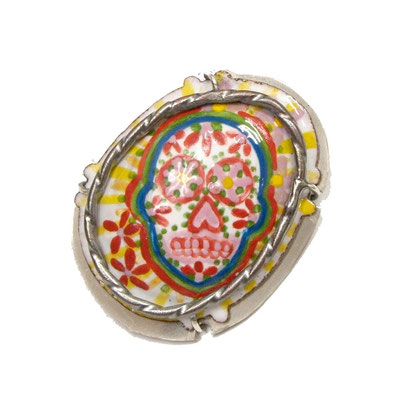 Day of the Dead Brooch/Pendant. Copper, Hand Painted Enamel, Nickel.