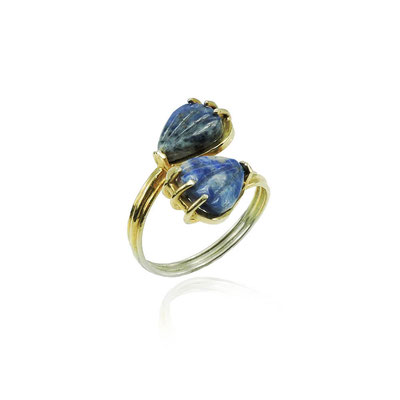 Lapis Wrap Ring. Sterling Silver, 14kt Yellow Gold Plating, Carved Lapis Lazuli.