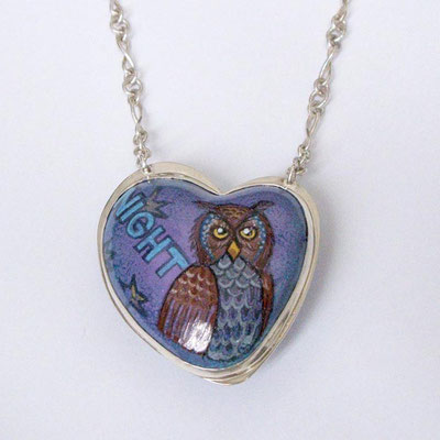 Night Owl. Sterling Silver, Copper, Nickel, Hand Painted Enamel.