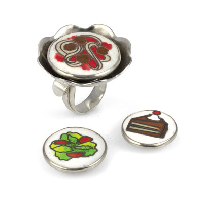 Interchangeable Food Ring. Sterling Silver, Copper, Cloisonné Enamel, Rare Earth Magnets.