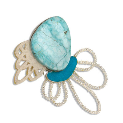 """Links Brooch"" Sterling Silver, Turquoise, Resin, Flocking, Pearls."