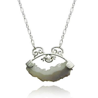 Ironwork Necklace. Sterling Silver, Druzy Quartz.