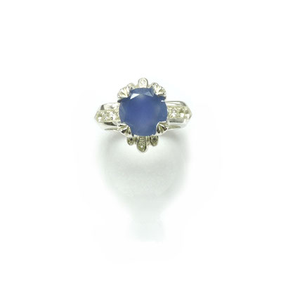 Blue Onyx Ring. Sterling Silver, Blue Onyx, White Sapphires.