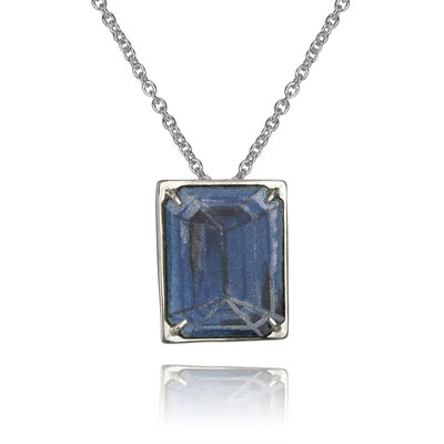 Bling Necklace (Blue Emerald Cut). Sterling Silver, Copper, Hand Painted Enamel.