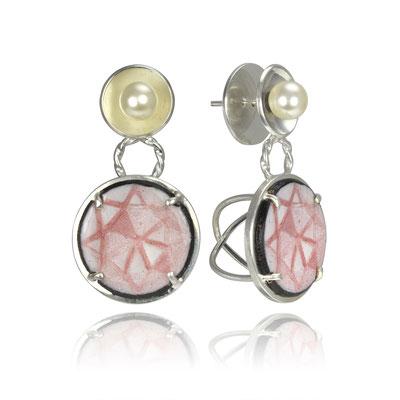 Pearl Bling Earrings (Pink). Sterling Silver, Copper, Hand Painted Enamel, Glass Pearls.