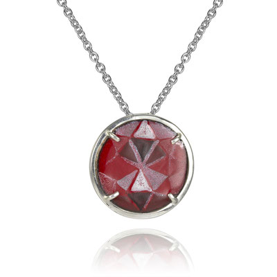 """""""Ruby"""" Necklace. Sterling Silver, Copper, Hand Painted Enamel."""