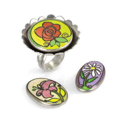 Interchangeable Flower Ring. Sterling Silver, Copper, Cloisonné Enamel, Rare Earth Magnets.