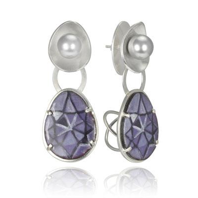 Pearl Bling Earrings (Purple). Sterling Silver, Copper, Hand Painted Enamel, Glass Pearls.