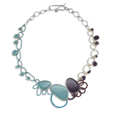 """Links"" Sterling Silver, Resin, Turquoise, Amethysts, Pearls."