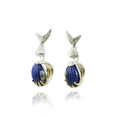 Lapis Fish Tail Earrings. Sterling Silver, 14kt Yellow Gold Plating, Carved Lapis Lazuli.