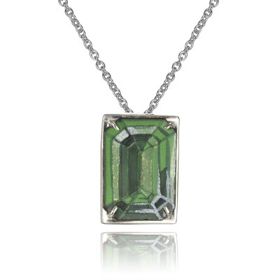 Bling Necklace (Dark Green Emerald Cut). Sterling Silver, Copper, Hand Painted Enamel.