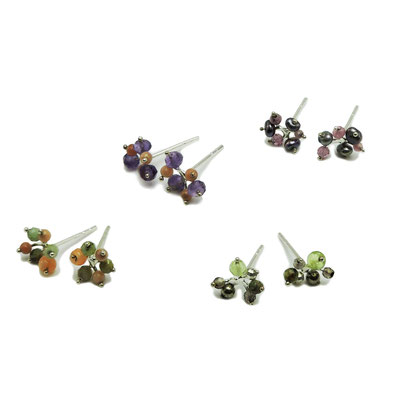 Polyp Studs. Sterling Silver with various Gemstone Beads.