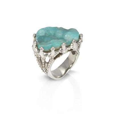 Reef Ring. Sterling Silver, Smithsonite.