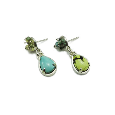 Mix-Matched Earrings. Sterling Silver, Turquoise, Damele, various Gemstone Beads.