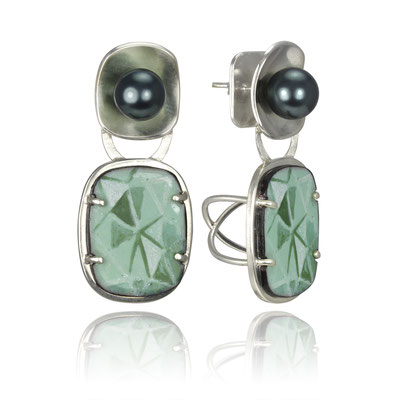 Pearl Bling Earrings (Turquoise). Sterling Silver, Copper, Hand Painted Enamel, Glass Pearls.