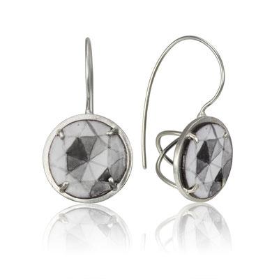 """""""Diamond"""" Earrings. Sterling Silver, Copper, Hand Painted Enamel."""