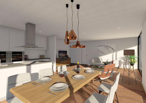Mehrfamilienhaus Mümliswil Wohnzimmer / Küche - S&S Totalunternehmung AG Ihr Partner für Gesamtleistungen