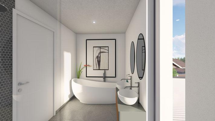 Einfamilienhaus Inkwil Badezimmer - S&S Totalunternehmung AG Ihr Partner für Gesamtleistungen