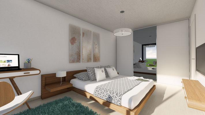 Einfamilienhaus Inkwil Schlafzimmer - S&S Totalunternehmung AG Ihr Partner für Gesamtleistungen