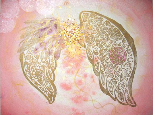 Crystalwing M  【売却済】木版×水彩×和紙   (2010)    570×450