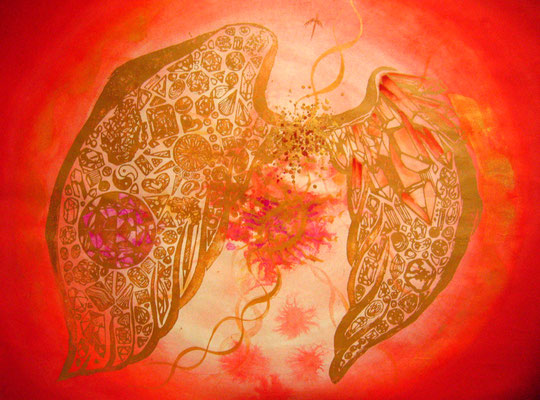 Crystalwing Red【個人様オーダーメイド】木版×水彩×和紙     680×550mm   2009