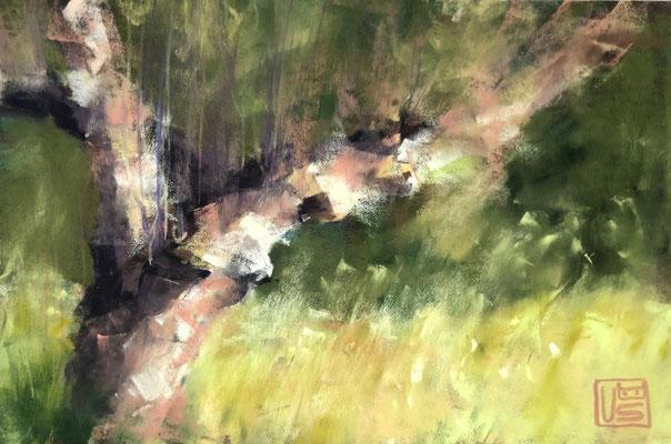 Ein sonniger Tag in den Alpen, 16 x 24 cm, Pastell
