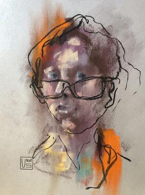 Selbstportrait in Orange, 32 x 41 cm, Pastell