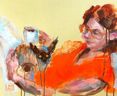 Kaffee mit Katz, 50 x 60 cm, Acryl (verkauft)