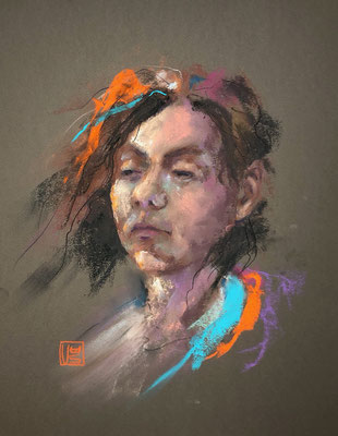 Selbstportrait in Lila, 32 x 41 cm, Pastell