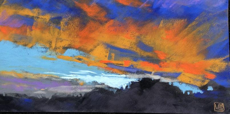 Orangene Wolken, 10 x 20 cm, Pastell