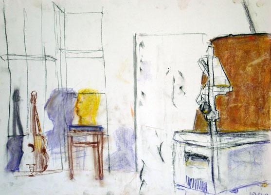 Wartestand, 2013, Pastellkreide, 42 x 59 cm